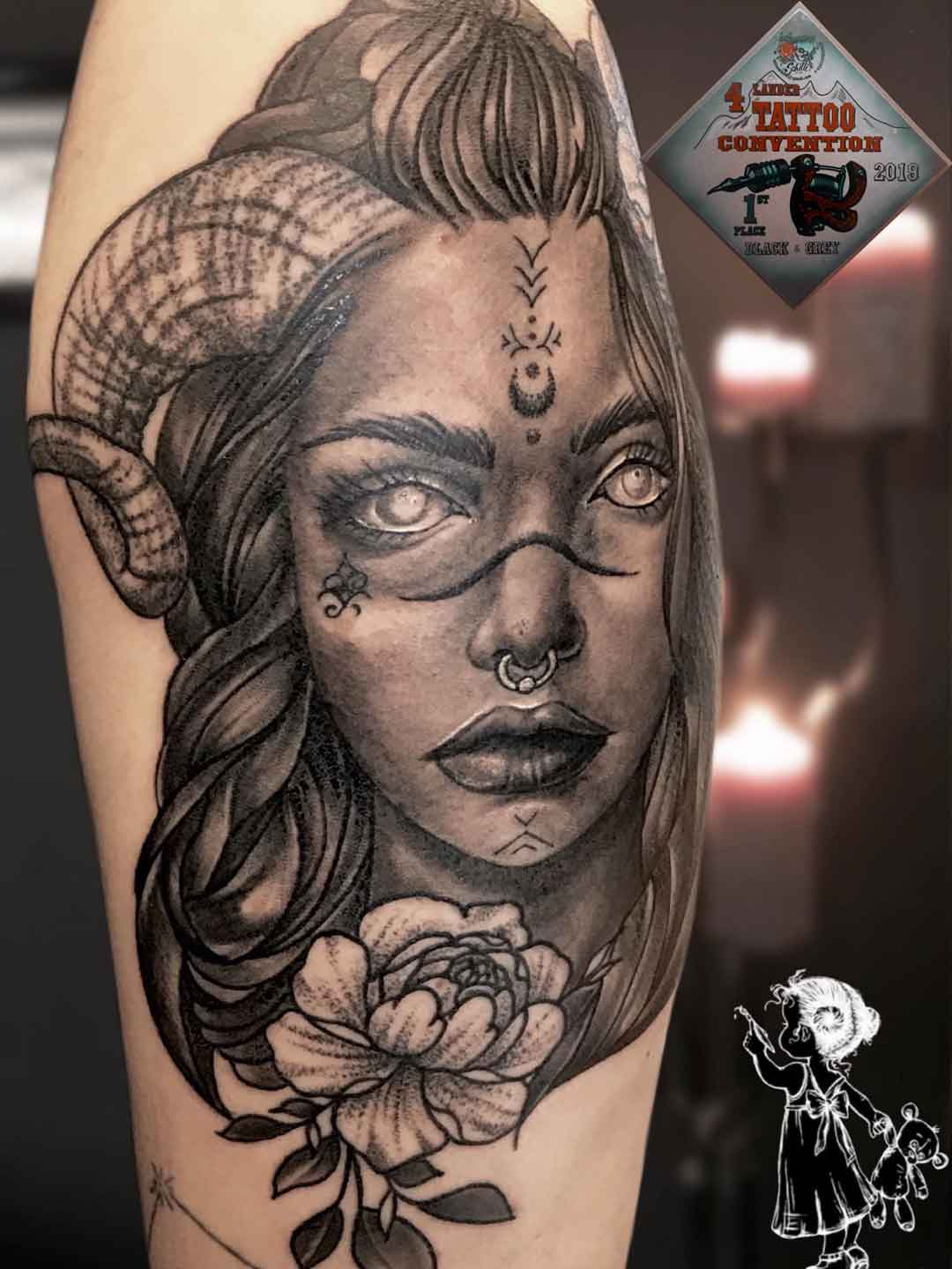 Portrait Capricorn Women Neo Traditional Tina Lee Tattoo Artist