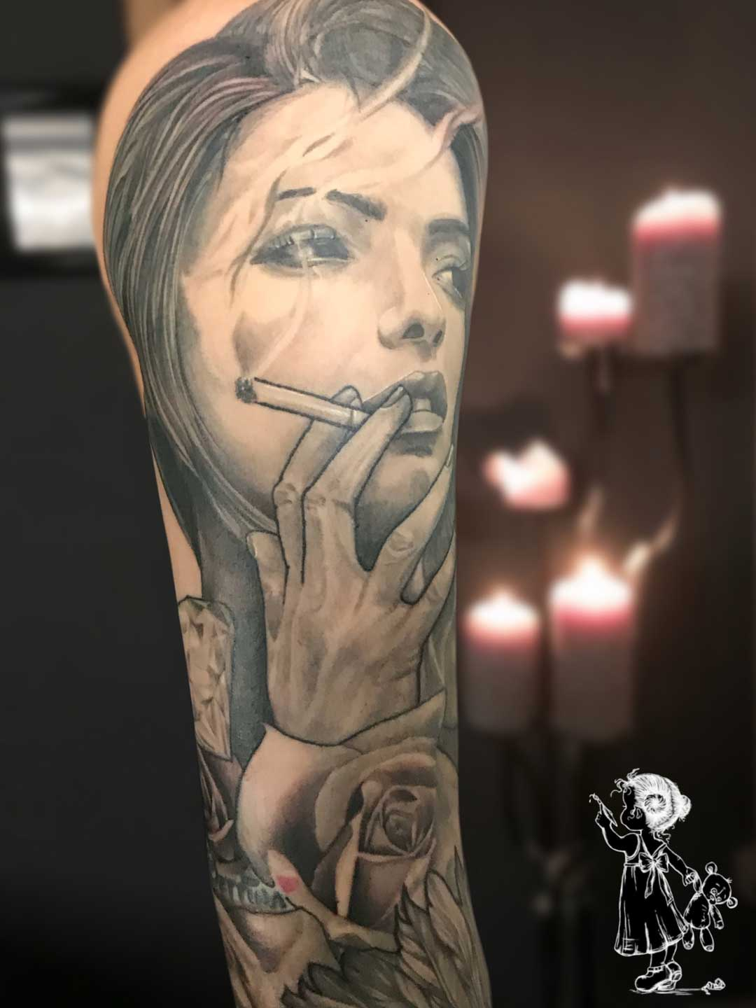 Portrait Smoking Women Neo Traditional Tina Lee Tattoo Artist